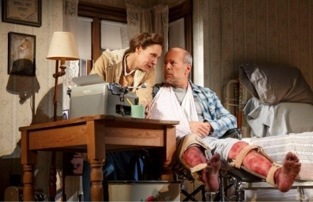 Misery - Laurie Metcalf as Annie Wilkes and Bruce Willis as Paul Sheldon. Photo by Joan Marcus, 2015.