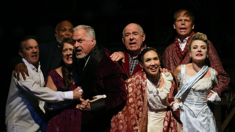 Derek Smith, Raphael Nash Thompson, Karen Ziemba, Tom Hewitt, Lenny Wolpe, Kimberly Immanuel, Jeff Hiller, and Alison Fraser  in Heartbreak House. Photo by Carol Rosegg